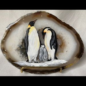 Hand Painted Agate Rock & Display Stand- Penguins